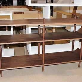 Walnut 'Idk' Wide 3 Tier Up Curved Ends Open Shelf Unit