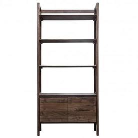 Walnut Madrid Ladder Side 2 Door Cupboard 3 Tier Shelf