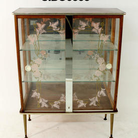 Pink Floral Glaze 4 Leg Display Cabinet