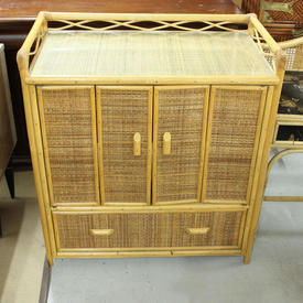 Bamboo/Rattan 2 Folding Door 1 Drawer Low Gallery Top Unit