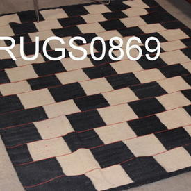 169Cm X 132Cm Black & Cream Check Patt Kilim inset Red Line