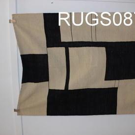 173Cm X 132Cm Black And Cream Box & Stripe Pattern Kilim