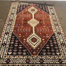 242Cm X 155Cm Rust Diamond Centre Navy, Cream Border indian Pattern Rug