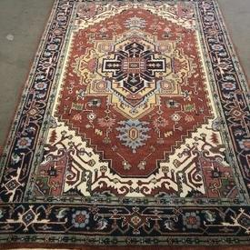 236Cm X 154Cm Rust, Gold & Cream with Navy Border indian Pat Fringed Rug