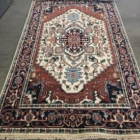 255Cm X 153Cm Cream Diamond Centre Blue & Rust indian Patt Rug