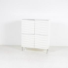 Conran White Wavy Front 4 Door Sideboard on Steel Legs