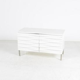 Conran White Wavy Front 2 Door Sideboard on Steel Legs