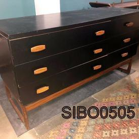 131 X 46Cm G Plan Black & Teak 6 Drawer Sideboard