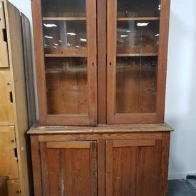 7' Dark Pine 4 Door (2 Glazed) Display Cabinet Shaped Top