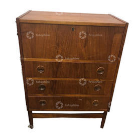 Low Teak 3 Drawer Flip Top Mpf Chest