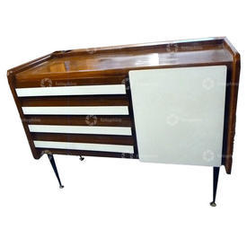 30'S Italian Sideboard 4 Drawer 1 Door White & Walnut on Black Leg Sideboard