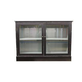 Grand Black 2 Door Glass Blue inside Low Cupboard