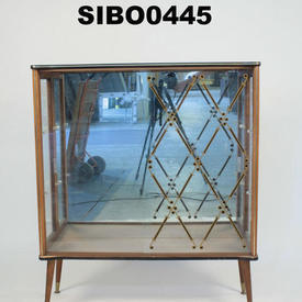 50'S Diamond Pattern Glass 2 Door China Cabinet