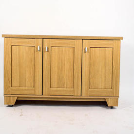 Oak 3 Door Sideboard Ali Handles, inset Panels on Castors