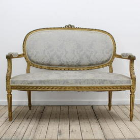 Gilt Frame Oval Back 2 Seater Open Arm Settee in Blue Damask