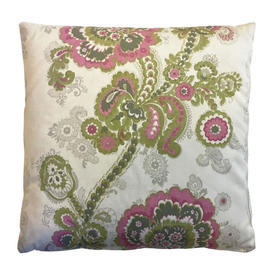 "Cushion 15"" x 15"" Lime Floral Paisley Stripe Sateen"