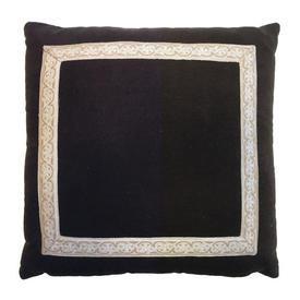 "Cushion 16"" x 16"" Brown Velvet / Silky Inset Braid"