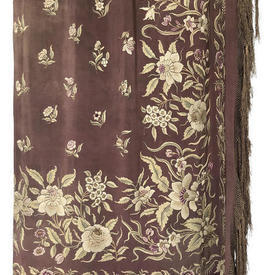 Shawl 6' x 6' Faded Brown Silk Crepe / Chinese Floral Emb / Long Fringe