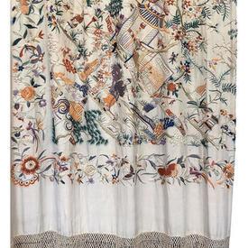 Shawl 9' x 9' Ivory / Multi Ornate Chinese Scenic Emb on Silk / Long Fringe