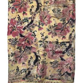"""Shawl 7'4"""" x 5'6"""" Shredded Yellow / Pink Metal Thread Floral Silk / Fringe"""