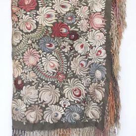 """Shawl 3'7"""" x 3'7"""" Faded Grey Silk / Large Floral Silk Emb / Fringe"""