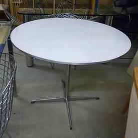 3' White Circ/Ali Trim Top 4 Prong Base Cafe Table