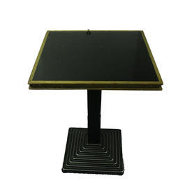 60Cm Square Cast Iron Ped/Black Top Restaurant Table