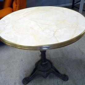 "30"" Diameter Mock Marble Top Ornate Brass Pub Table"