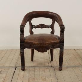 Carved Oak Tub Desk Chair with Brown Leather Seat & Paw Feet