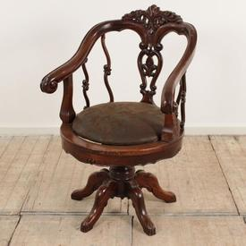 Carved Mahogany Tub Swivel Office Chair with Leather Seat