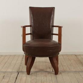 Brown Deco Leather Seat & Back Desk Chair with Wooden Curved Arms