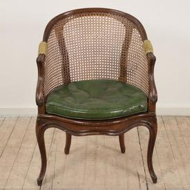 Mahogany Cane Tub Office Chair with Green Leather Cushion