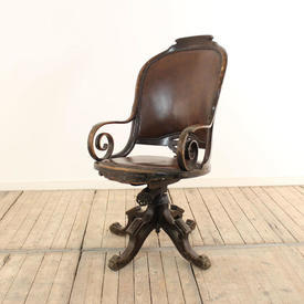 Polished Oak High Back Swivel Chair with Shaped Arm Upholstered in Brown Leather
