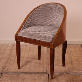Burr Walnut Tub Office Chair in Silver Grey Patterned Fabric
