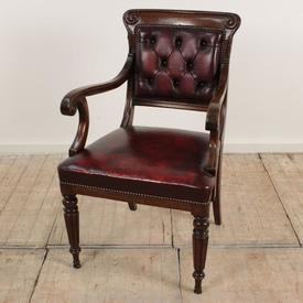 Mahogany Leather Seat & Back Elbow Cabinet Room Chair