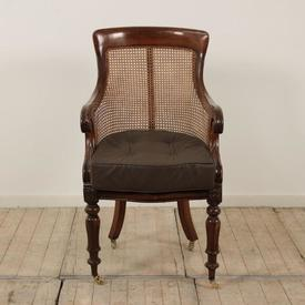 Mahogany William Iv Desk Chair with Cane Seat & Back with Seat Pad