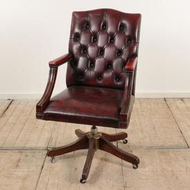 Mahogany Gainsborough Swivel Chair with Red Leather Button Back