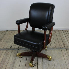 Black Leather & Mahogany Lyndon Johnson Swivel Desk Chair
