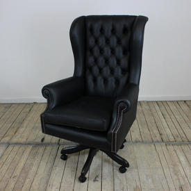Black Leather Button Back Wing Chair on Swivel Base