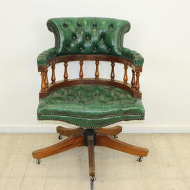 Mahogany Victorian Swivel Captain'S Desk Chair Green Leather Seat & Back