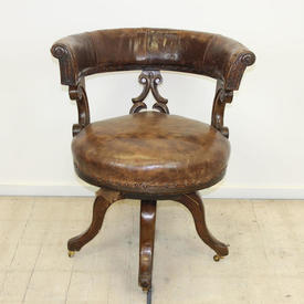 Oak Victorian Tub Back Office Swivel Chair Brown Leather Seat & Back
