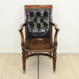 Victorian Elm Desk Chair with Black Leather Back