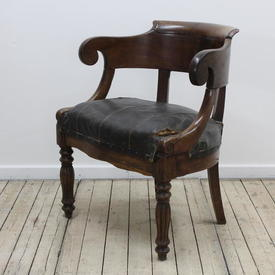 Oak Office Chair with Brown Leather Seat