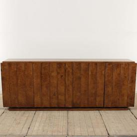 """7'8"""" Burr Walnut 4 Door 1930'S Sideboard with Curved Ribbed Front"""