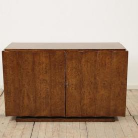 """4'3"""" Burr Walnut 2 Door 1930'S Sideboard with Curved Ribbed Front"""
