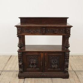 "3'8"" English Oak Carved Ornate Buffet with Cupboard Base, Shelf & 2 Drawers"