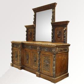 7' Polished Oak 2-Part Sideboard with Ornate Carved Mirror Back & Multi Carved Face Cupboard Base