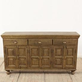 """5'4"""" Brass Embossed Sideboard 3 Drawers & 4 Door with Shell Handles (C)"""