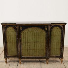 "4'10"" Black & Gilded, Lacquered Breakfront Sideboard with Green Arched Door Decor"