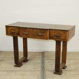 4' Walnut 1930'S 3 Drawer Sideboard with U Shape Legs
